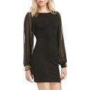 Sexy Mesh Long Sleeve Metallic Embellished Cuffs Mini Bodycon Dress