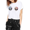 Alien Printed Short Sleeve Round Neck Cropped Tee