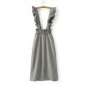 Floral Trim Plaid Print Split Front Zip Back Basic Overall A-Line Skirt