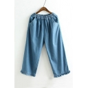 New Arrival Elastic Waist Wide Leg Loose Basic Denim Pants with Pockets