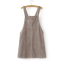New Arrival Plain Vertical Striped Corduroy Overall Mini Dress with One Pocket