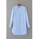 Stand-Up Collar Long Sleeve Vertical Striped Print High Low Hem Tunic Blouse