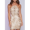 Women's Chic Halter Sleeveless Crisscross Open Back Lace Patched Sexy Mini Pencil Dress