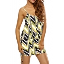 Women's Spaghetti Straps Color Block Drawstring Sides Tank Dress One Piece Swimwear