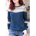 Women's Basic Round Neck Long Sleeve Color Block Wave Striped Loose Tee