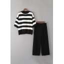 Round Neck Half Sleeve Striped Print Tee Elastic Waist Plain Capri Wide Leg Pants Co-ords