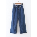 Women's Mid Waist Patchwork Plain Wide Leg Jeans