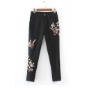 Zip Fly Floral Bird Embroidery Mid Waist Stretch Skinny Denim Pants