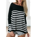 Oversized Black and White Striped Color Block Long Sleeve Tee