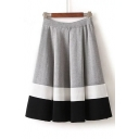 Asymmetrical Striped Color Block Elastic Waist Pleated A-Line Midi Skirt
