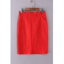 OL Stylish High Waist Split Back Hem Plain Mini Bodycon Skirt with Two Pockets