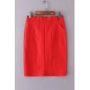 OL Stylish High Waist Split Back Hem Plain Mini Bodycon Skirt with Two Pockets