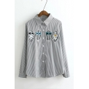 Vertical Striped Cartoon Owl Appliqued Single Breasted Long Sleeve Lapel Shirt