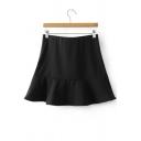 New Arrival Plain Zip Side Ruffle Mini Skirt