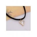 New Fashion Retro Velvet Strap Turquoise Triangle Design Necklace