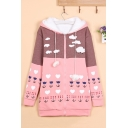 Drawstring Hooded Zipper Placket Long Sleeve Printed Color Block Tunic Padded Coat