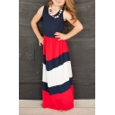Summer Scoop Neck Sleeveless Color Block Striped Print Maxi Dress for Children