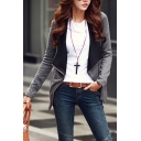 Contrast Lapel Collar Long Sleeve Side Zip Design Casual Coat
