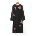 Sheer Mesh Embroidery Floral Pattern Long Sleeve Maxi T-Shirt Dress