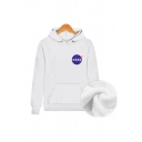 Chic NASA Logo Printed Drawstring Hooded Long Sleeve Hoodie Sweatshirt with One Pocket