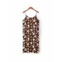 Summer Spaghetti Straps Floral Printed Ruched Split Side Maxi Cami Dress