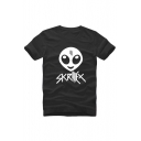 Funny Unisex SKRILLEX Cartoon Alien Printed Short Sleeve Round Neck Casual Tee