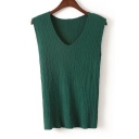 Simple V-Neck Sleeveless Plain Solid Color Pullover Sweater