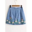 Floral Embroidered High Rise Basic Zip Back A-Line Mini Basic Denim Skirt