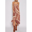 Boho Style Spaghetti Straps Open Back Tribal Printed Maxi Beach Slip Dress