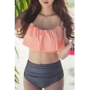 Women's Spaghetti Straps Ruffle Front Top with Striped High Waist Bottom