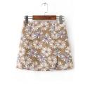 Summer's Floral Printed Side Split Zip Back Mini Pencil Skirt