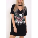 Women's Choker Cutout V-Neck Eagle Printed Short Sleeve Mini T-Shirt Dress