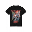 Unisex IRON MAIDEN Cartoon Printed Short Sleeve Round Neck Tee