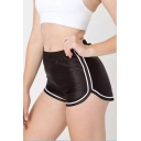 Basic Color Block Striped Elastic Waist Leisure Sports Shorts