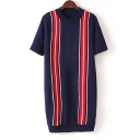 New Fresh Vertical Contrast Striped Short Sleeve Round Neck Mini Sweater Dress
