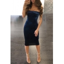 New Fashion Plain Sexy Bandeau Bodycon Pencil Midi Dress