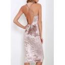 New Fashion Pink Crisscross Open Back Plain Velvet Midi Pencil Dress