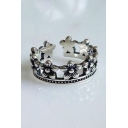 Vintage Floral Design Hollow Out Open Front Crown Ring