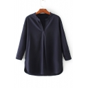 Plain V-Neck 3/4 Length Sleeve Pullover High Low Hem Loose Blouse