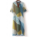 Asymmetric Printed Color Block Ruffle Short Sleeve Pom-Pom Tassel Hem Maxi Dress