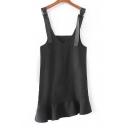 New Arrival Ruffle Hem Straps V-Neck Sleeveless Zip-Back Asymmetric Dress