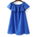 Summer's Boat Neck Ruffle Hem Plain Mini A-Line Dress