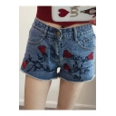 Summer Floral Embroidered Fringe Trim New Fashion Hot Pants Denim Shorts