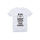 Off-Duty Funny Letter Printed Short Sleeve Round Neck Graphic Tee