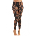 New Fashion the Sun Printed Super Stretch Full Length Skinny Leggings