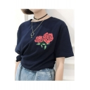 New Arrival Floral Rose Embroidered Round Neck Short Sleeve Pullover T-Shirt