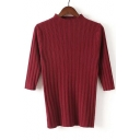 Women's Half Sleeve Round Neck Striped Solid Color Pullover Sweater