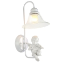 Pure Angel Pairs with All White Add Charm to Magnificent Single Light Wall Sconce Adorned with Clear Crystal Drop
