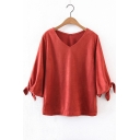Women's Tied Cuffs V-Neck 3/4 Length Sleeve Solid Color T-Shirt