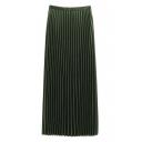 Zip Side Elastic Waist Vertical Striped Midi Plain Pleated Skirt